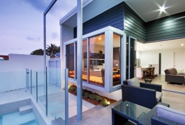 7. Pool and Outdoor Living view to Daybed, Kitchen, and Living
